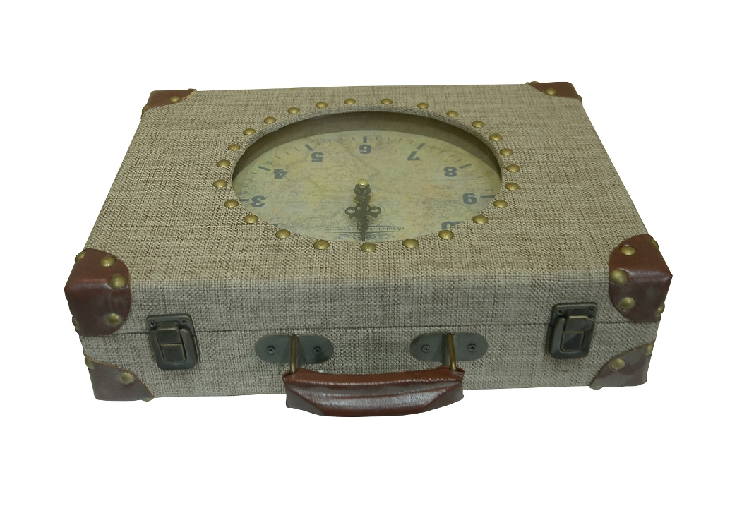 "15"" Off-White Suitcase Decorative Wooden Mantel Clock"